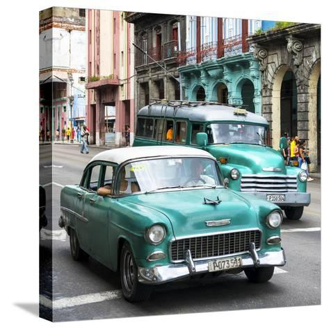 Cuba Fuerte Collection SQ - Green Taxi Cars Havana-Philippe Hugonnard-Stretched Canvas Print