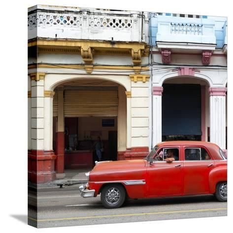 Cuba Fuerte Collection SQ - Havana Red Car-Philippe Hugonnard-Stretched Canvas Print