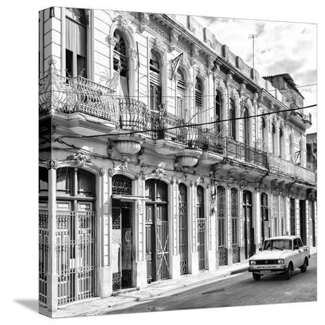 Cuba Fuerte Collection SQ BW - Cuban Facades in Havana-Philippe Hugonnard-Stretched Canvas Print