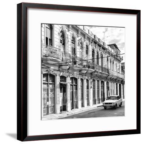 Cuba Fuerte Collection SQ BW - Cuban Facades in Havana-Philippe Hugonnard-Framed Art Print