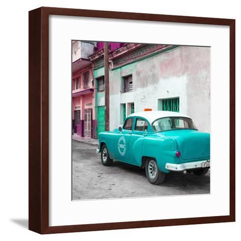 Cuba Fuerte Collection SQ - Turquoise Taxi Pontiac 1953-Philippe Hugonnard-Framed Art Print