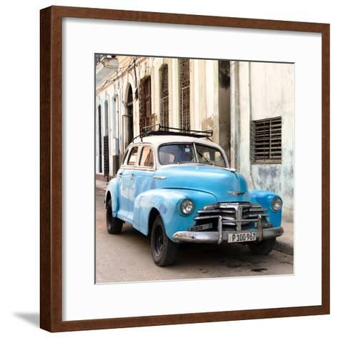 Cuba Fuerte Collection SQ - Old Blue Chevrolet in Havana-Philippe Hugonnard-Framed Art Print