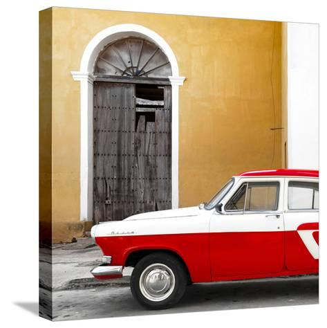 Cuba Fuerte Collection SQ - American Classic Car White and Red-Philippe Hugonnard-Stretched Canvas Print