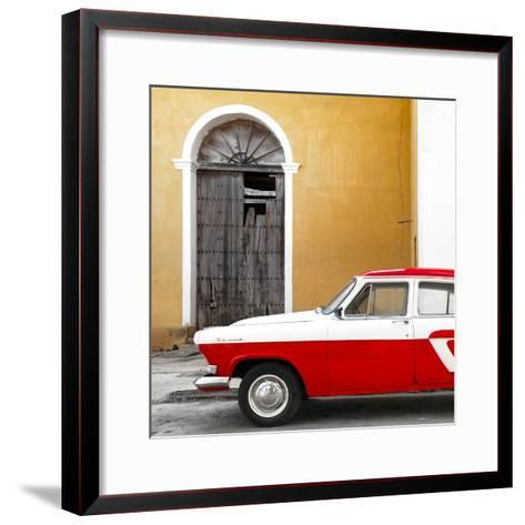 Cuba Fuerte Collection SQ - American Classic Car White and Red-Philippe Hugonnard-Framed Art Print