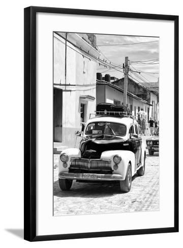 Cuba Fuerte Collection B&W - Classic Car Taxi II-Philippe Hugonnard-Framed Art Print