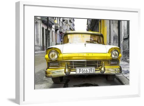 Cuba Fuerte Collection - Old Ford Yellow Car-Philippe Hugonnard-Framed Art Print