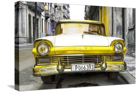 Cuba Fuerte Collection - Old Ford Yellow Car-Philippe Hugonnard-Stretched Canvas Print