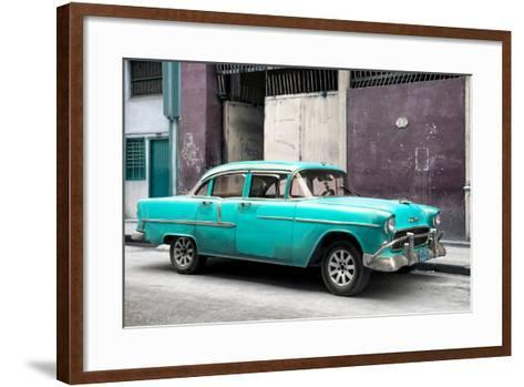 Cuba Fuerte Collection - Turquoise Chevy-Philippe Hugonnard-Framed Art Print