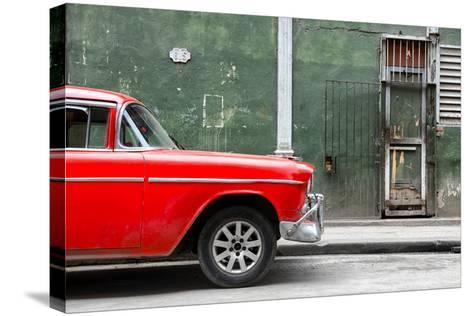 Cuba Fuerte Collection - 615 Street and Red Car-Philippe Hugonnard-Stretched Canvas Print