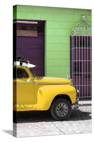 Cuba Fuerte Collection - Close-up of Yellow Vintage Car-Philippe Hugonnard-Stretched Canvas Print