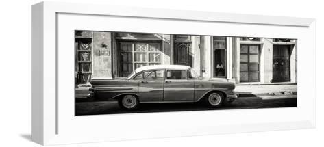 Cuba Fuerte Collection Panoramic BW - Old Car in Havana-Philippe Hugonnard-Framed Art Print