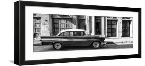 Cuba Fuerte Collection Panoramic BW - Old Car in Havana II-Philippe Hugonnard-Framed Art Print