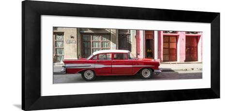 Cuba Fuerte Collection Panoramic - Old Red Car in Havana-Philippe Hugonnard-Framed Art Print