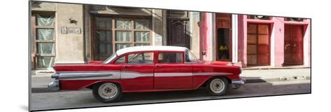 Cuba Fuerte Collection Panoramic - Old Red Car in Havana-Philippe Hugonnard-Mounted Photographic Print