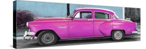 Cuba Fuerte Collection Panoramic - Beautiful Retro Pink Car-Philippe Hugonnard-Stretched Canvas Print