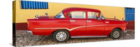 Cuba Fuerte Collection Panoramic - Red Classic Car in Trinidad-Philippe Hugonnard-Stretched Canvas Print