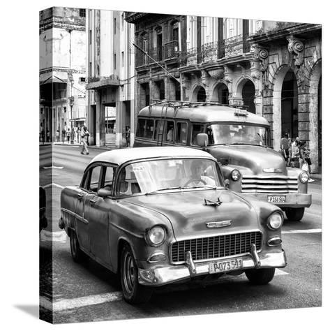 Cuba Fuerte Collection SQ BW BW - Taxi Cars Havana-Philippe Hugonnard-Stretched Canvas Print