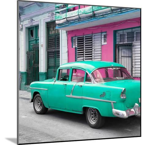 Cuba Fuerte Collection SQ - Old Cuban Coral Green Car-Philippe Hugonnard-Mounted Photographic Print