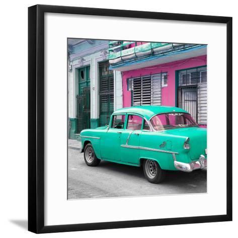 Cuba Fuerte Collection SQ - Old Cuban Coral Green Car-Philippe Hugonnard-Framed Art Print