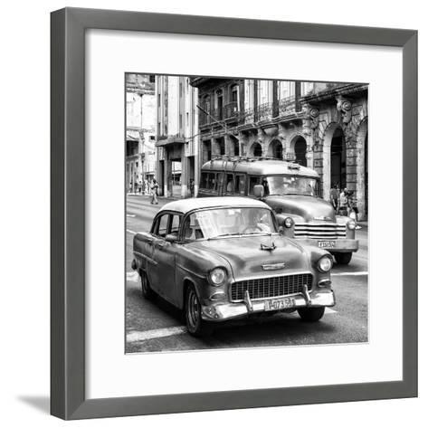 Cuba Fuerte Collection SQ BW BW - Taxi Cars Havana-Philippe Hugonnard-Framed Art Print