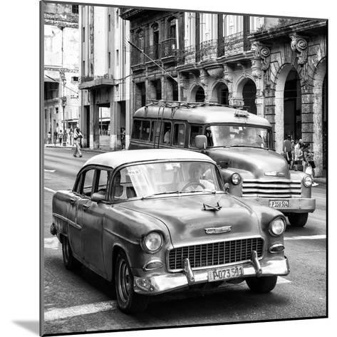Cuba Fuerte Collection SQ BW BW - Taxi Cars Havana-Philippe Hugonnard-Mounted Photographic Print