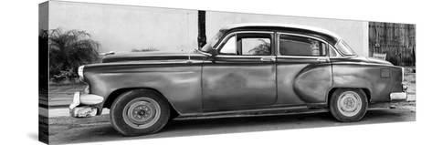 Cuba Fuerte Collection Panoramic BW - Beautiful Vintage Car-Philippe Hugonnard-Stretched Canvas Print