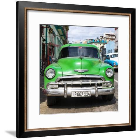 Cuba Fuerte Collection SQ - Green Chevy-Philippe Hugonnard-Framed Art Print