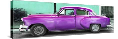Cuba Fuerte Collection Panoramic - Beautiful Retro Purple Car-Philippe Hugonnard-Stretched Canvas Print