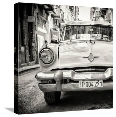Cuba Fuerte Collection SQ BW - Taxi of Havana-Philippe Hugonnard-Stretched Canvas Print
