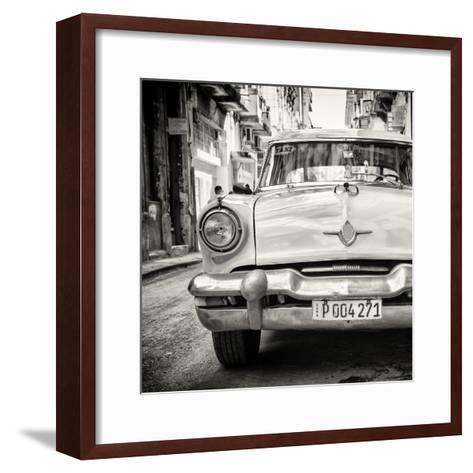 Cuba Fuerte Collection SQ BW - Taxi of Havana-Philippe Hugonnard-Framed Art Print