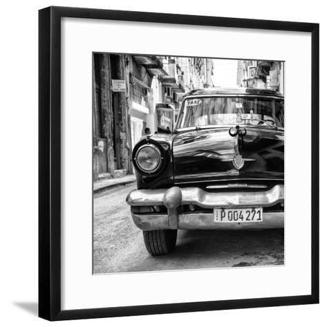 Cuba Fuerte Collection SQ BW - Taxi of Havana II-Philippe Hugonnard-Framed Art Print