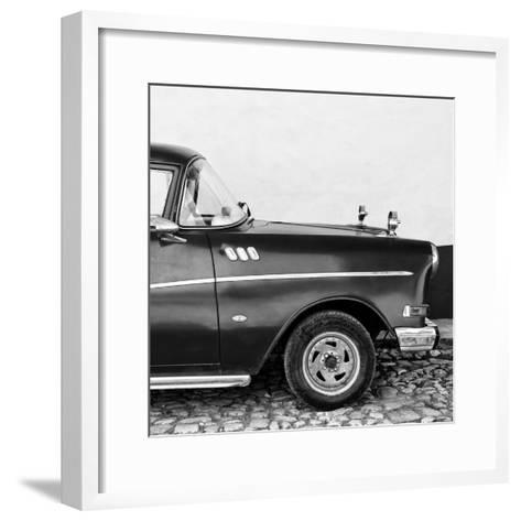 Cuba Fuerte Collection SQ BW - Close-up of Retro Car II-Philippe Hugonnard-Framed Art Print