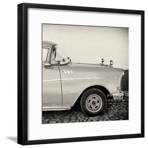 Cuba Fuerte Collection SQ BW - Close-up of Retro Car-Philippe Hugonnard-Framed Art Print