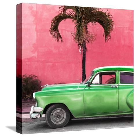Cuba Fuerte Collection SQ - Beautiful Retro Green Car-Philippe Hugonnard-Stretched Canvas Print