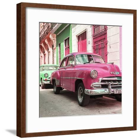 Cuba Fuerte Collection SQ - Two Chevrolet Cars Pink and Green-Philippe Hugonnard-Framed Art Print