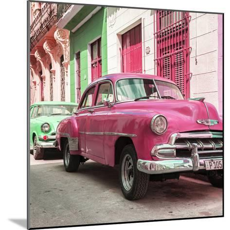 Cuba Fuerte Collection SQ - Two Chevrolet Cars Pink and Green-Philippe Hugonnard-Mounted Photographic Print