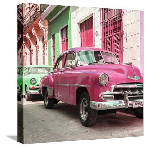 Cuba Fuerte Collection SQ - Two Chevrolet Cars Pink and Green-Philippe Hugonnard-Stretched Canvas Print