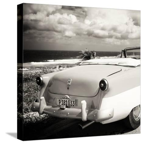 Cuba Fuerte Collection SQ BW - Old Classic Car Cabriolet-Philippe Hugonnard-Stretched Canvas Print