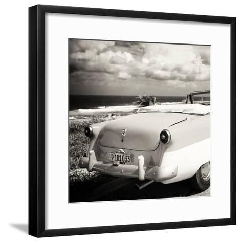Cuba Fuerte Collection SQ BW - Old Classic Car Cabriolet-Philippe Hugonnard-Framed Art Print