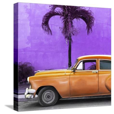 Cuba Fuerte Collection SQ - Beautiful Retro Orange Car-Philippe Hugonnard-Stretched Canvas Print