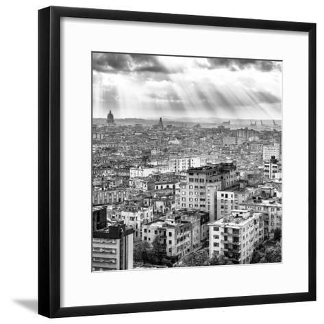 Cuba Fuerte Collection SQ BW - Rays of light on Havana II-Philippe Hugonnard-Framed Art Print