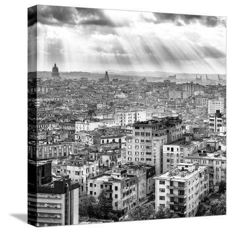 Cuba Fuerte Collection SQ BW - Rays of light on Havana II-Philippe Hugonnard-Stretched Canvas Print
