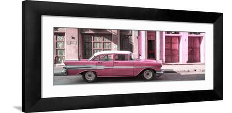 Cuba Fuerte Collection Panoramic - Old Pink Car in Havana-Philippe Hugonnard-Framed Art Print
