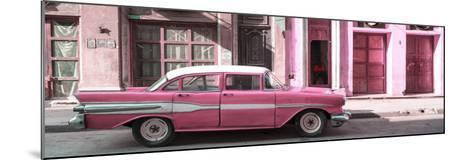 Cuba Fuerte Collection Panoramic - Old Pink Car in Havana-Philippe Hugonnard-Mounted Photographic Print