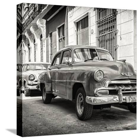 Cuba Fuerte Collection SQ BW - Two Chevrolet Cars-Philippe Hugonnard-Stretched Canvas Print