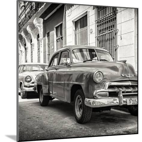 Cuba Fuerte Collection SQ BW - Two Chevrolet Cars-Philippe Hugonnard-Mounted Photographic Print