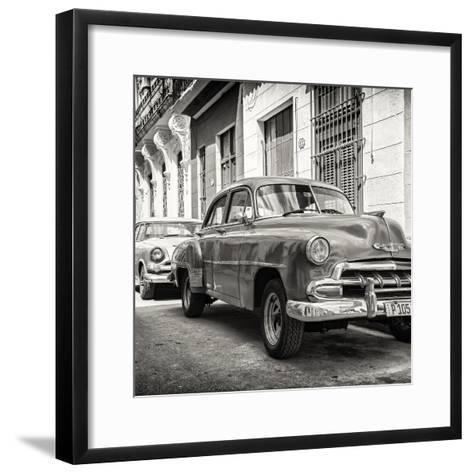 Cuba Fuerte Collection SQ BW - Two Chevrolet Cars-Philippe Hugonnard-Framed Art Print