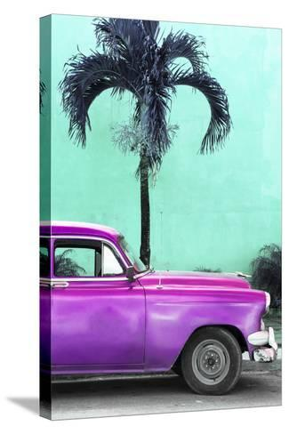 Cuba Fuerte Collection - Close-up of Beautiful Retro Purple Car-Philippe Hugonnard-Stretched Canvas Print