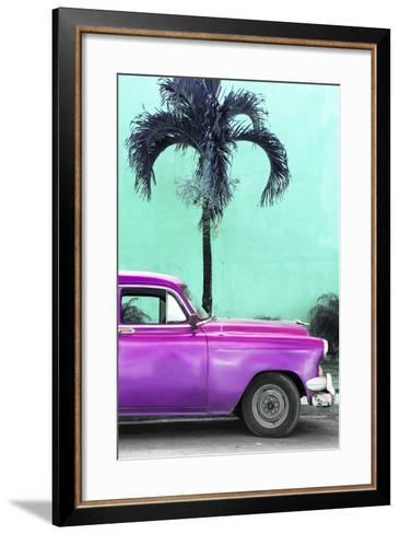 Cuba Fuerte Collection - Close-up of Beautiful Retro Purple Car-Philippe Hugonnard-Framed Art Print