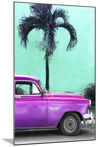 Cuba Fuerte Collection - Close-up of Beautiful Retro Purple Car-Philippe Hugonnard-Mounted Photographic Print